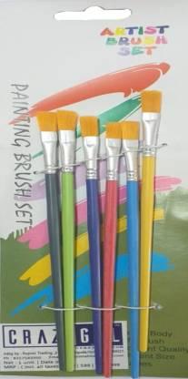 CRAZYGOL Multicolor Printing Brush Set of 6 Flat