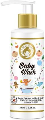 Mom & World Baby Wash - Tear Free Gentle Cleansing For Hair & Body, 200ml (No SLS, Paraben)