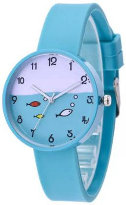 KNACK TW-02569 Teenager Luxurious Fashion Silicone Blue Colored Fish Dail Watch For Girls Analog Watch - For Girls