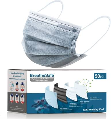 BreatheSafe 4 Ply Activated Carbon Nanosilver Surgical Face Mask, Self Sanitizing Mask, BFE & PFE >99%, ASTM Level 3, Tested & ISO 13485:2016 Certified, Breathing Capacity >99%, Premium Mask With Nose Clip For Men and Women with Activated Nanonsilver Fabric Filter, Anti Pollution and Anti Microbial, Comfortable Earloops, Skin Friendly BS4PLY Water Resistant Surgical Mask With Melt Blown Fabric Layer