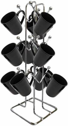 Maxtan Stainless Steel Coffee Cup Holder Stand for Modular Kitchen (Color: Silver,12 Cups Stand) Utensil Kitchen Rack
