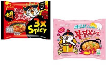 Samyang 3X Spicy Noodles - 140 g & Carbo Noodles -130 gm(Pack of 2) (Imported) Instant Noodles Non-vegetarian