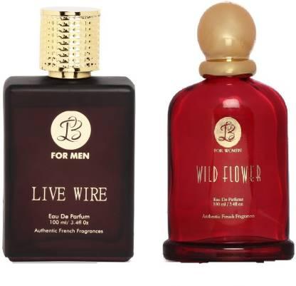 Lyla Blanc Mens LIVE WIRE & Womens WILD FLOWER - (Set of 2 Perfume for Couple) (100ml each) Eau de Parfum  -  100 ml