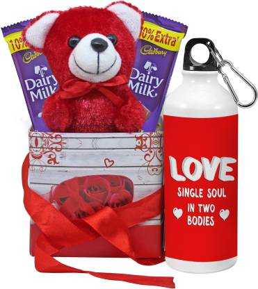TIED RIBBONS Valentines Best Gifts for Boyfriend, Girlfriend, Wife, Husband, Him, Her, Combo (Sipper, Dairy Milk Chocolates, Cute Teddy and Gift Box) Aluminium Gift Box