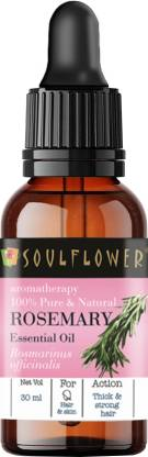 Soulflower Rosemary Essential Oil (30 ml)  100% Pure, Natural and Undiluted for Hair, Skin and Face