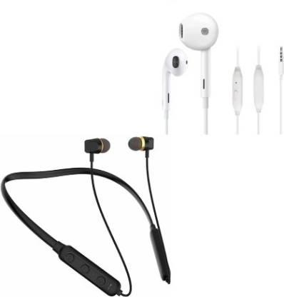 Mi earphones metal + UI Neckband Titanic Series Sports Neckband 10 Hours Back up Bluetooth Headset(Black, True Wireless)