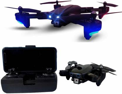 Chawla Agency Pioneer Foldable Drone with Dual Camera HD Wide Angle Lens | Optical Flow Positioning with 1200Mah Battery WiFi FPV Pioneer 4-Axis Dual Camera Aerial Drone with Dual Flash Lights Remote Control Drone