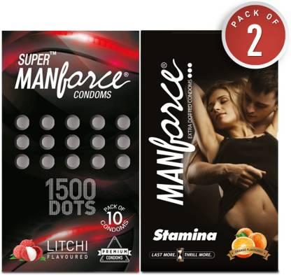 MANFORCE Combo Pack (Orange & Litchi Flavoured) Condom