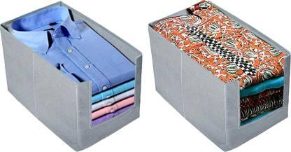 ARVANA Organizer For Clothes Shirt Stacker Organizer Storage Box For Wardrobe Organiser For Men And Women Clothing Boxes For Closet Organizer t Shirt Covers For Cloth Organizer , Grey - Set Of 2 SHIRTKURTIORGGREY01