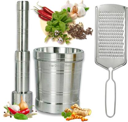 Top Quality Store - Okhli Musal/Mortar/Masher & Pestle Set And Free Steel Cheese Ginger Carrot/Vegetables and Coconut Grater Silver Kitchen Tool Silver Kitchen Tool Set