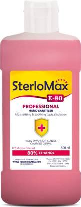 SterloMax 80% Ethanol-based Hand Rub Sanitizer and Disinfectant 500 ML Hand Rub Bottle