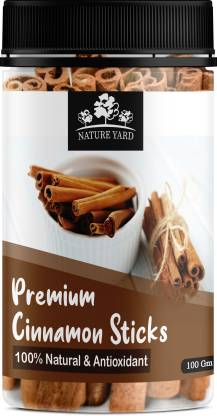 NATURE YARD Pure Cinnamon / Dalchini Whole Round stick - 100gm - 100% Natural and Antioxidant, Best for Weight loss