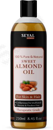 Seyal Sweet Almond Oil 100% Natural, Cold Pressed Therapeutic Grade For Hair Skin & Culinary Use  (250 ml)