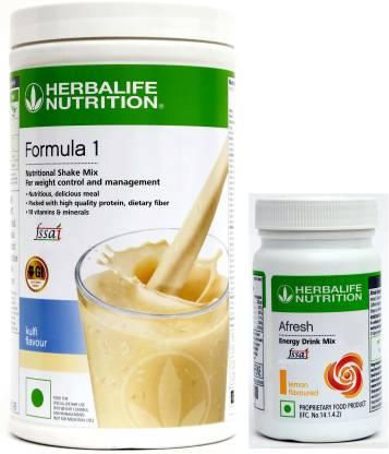 HERBALIFE Formula 1 Nutritional Shake Mix kulfi 500 gm And Afresh Energy Drink Lemon 50 gm Energy Drink