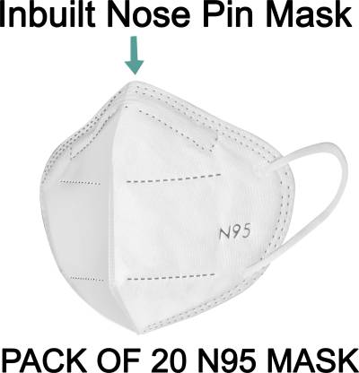 LOIS CARON FM-22 N95 MASK WITH METALLIC NOSE PIN REUSABLE ANTI-POLLUTION , ANTI-VIRUS BREATHABLE FACE MASK N95 WASHABLE ( WHITE) FOR MEN , WOMEN AND KIDS MASK , REUSABLE, WASHABLE Reusable