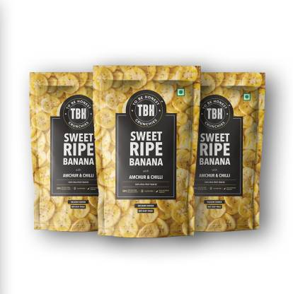 To Be Honest Real Fruit Vacuum Cooked Chips, Sweet Ripe Banana with Amchur & Chilli, Tasty with High Dietary Fiber and Nutrient Content, Gluten-Free Snack, 90 gm Each - Pack of 3 Chips