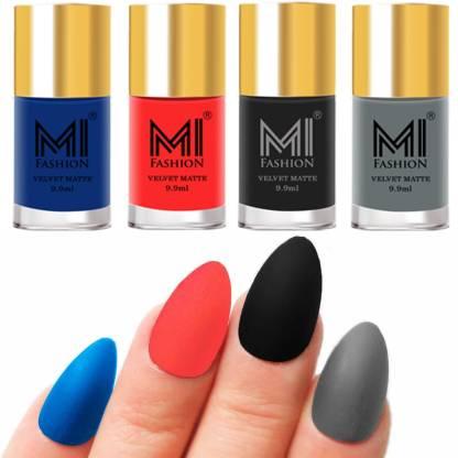 MI FASHION Premium Quality Dull Velvet Matte Nail Polish Duo Pont Flat Brush Exclusive Combo No-179 Navy Blue,Neon Orange,Black,Grey