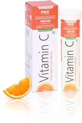 paxnaturals Vitamin C Effervescent Tablets with Amla and Zinc Sugar free- Orange Flavour
