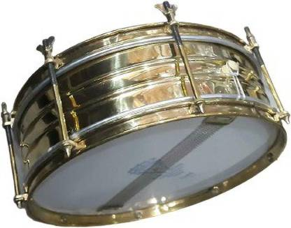"""SM SAI Musical Brass Side Drum School Band Marching Dhol (12"""" Inch) with 2 Piece Skin and Sticks Nut & Bolts Dholak"""