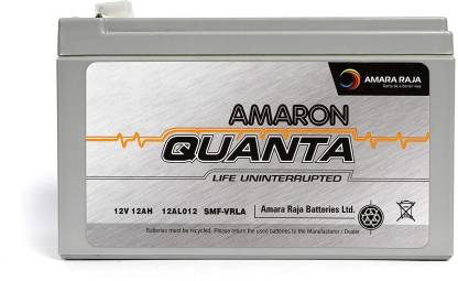 amaron Quanta 12V 7Ah SMF UPS-Emergency Battery.Battery for Use in UPS/Solar and More Instruments. (VRLA 12-07/ 12V, 7AH C20) Made in India(15 Month Warranty) UPS