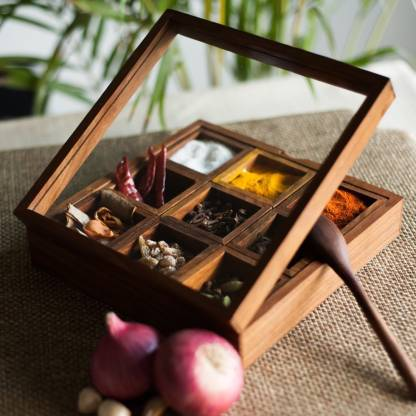 ExclusiveLane Handcrafted 9 Removable Containers Sheesham Wood Spice Box Cum 1 Piece Spice Set