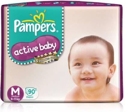 Pampers Active Baby Diapers Taped Medium Size