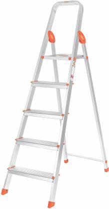 Bathla Advance 5-Step Foldable, with Sure-Hinge Technology (Orange) Aluminium Ladder