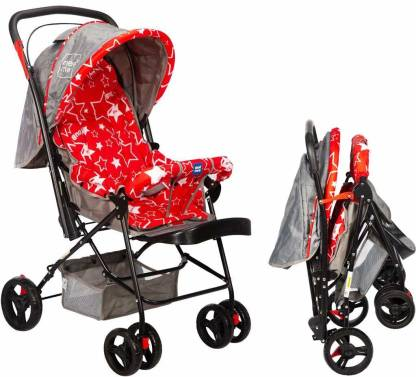 MeeMee Baby Pram with Adjustable Seating Positions and Reversible Handle (Red) Pram