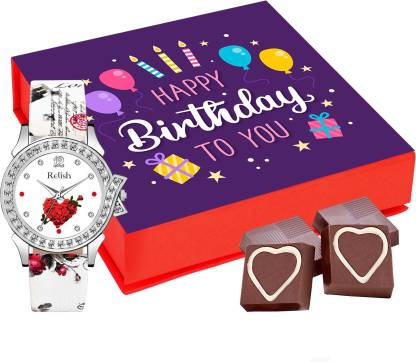 Chocoloony Chocolates Happy Birthday Gift Box with Relish Heart Dial Watch For Women, Girls, Girlfriend, Wife, Sister and Lover 9Pcs Mlik Chocolate Paper Gift Box