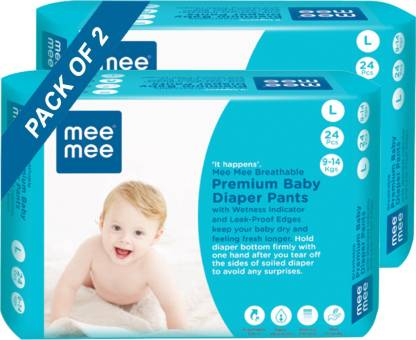 MeeMee Breathable Premium Baby Diaper Pants with Wetness Indicator and Leak-Proof Edges (Large, 24 Pcs) (Pack of 2) - L