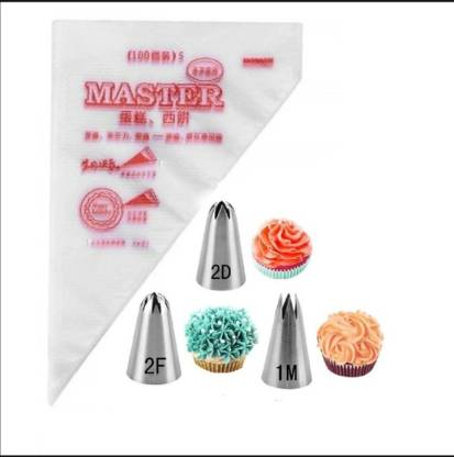 3pcs Stainless Steel Icing Piping Nozzle Tip Set for Baking and Cake Cupcake Cookie Decorating 2d 1m 2f
