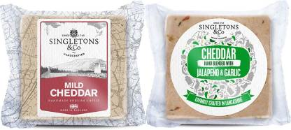 Singletons & Co Mild White & Jalapeno And Garlic Cheddar Cheese Combo Pack 400 g