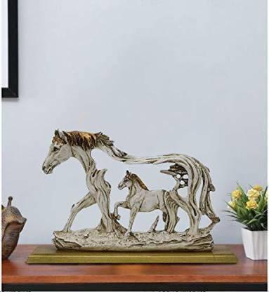 CraftVatika Horse Statue Horses Showpieces for Home Decor Good Luck Wealth Income Shining Bright Future Decorative Items Gifts Decorative Showpiece - 20.32 cm