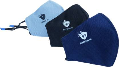 DEFEND99 Self Sanitizing 3 Layer Reusable Washable Breathable Face Mask For Men Women – 3 Piece (Navy Blue, Grey, Black Pack of 1) DEF993001 Cloth Mask