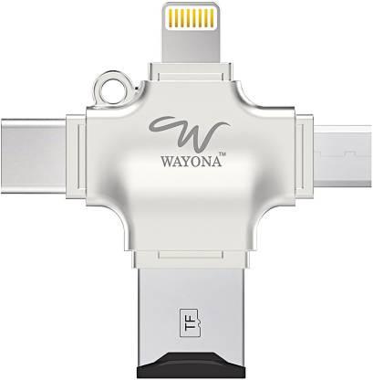 Wayona Lightning, Micro USB, USB, USB Type C OTG Adapter