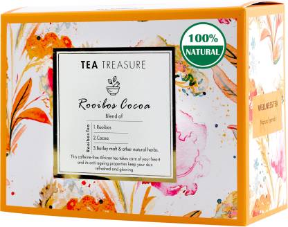 TeaTreasure Rooibos Cocoa Red Tea Caffeine Free Antioxidants Rich Tea Chocolate Herbal Tea Box