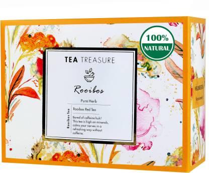 TeaTreasure Rooibos Red Herbal Tea - 1 Teabox ( 18 Pyramid Tea Bags ) - Caffeine Free Antioxidants Rich South African Tea for Healthy Heart, Rooibos Tea Box