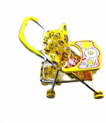 Ladila Stroller Baby Doll Toy Set Real Moving Stroller Toy for Kids Stroller Baby Doll Toy Set(Yellow)