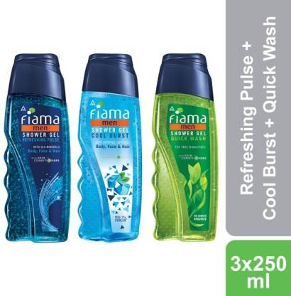 FIAMA Men Refreshing Pulse, Cool Burst and Quick Wash Shower Gel, Pack of 3