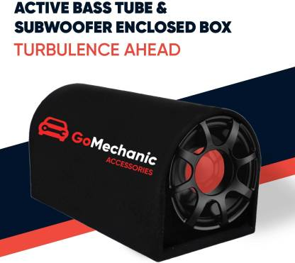 """GoMechanic RESONAR-R2 10"""" Active Basstube with 1 Year Warranty & in-Built Amplifier 5200W High O/P for Crystal Clean Low Frequency Bass Response for All Vehicles (Sub-woofer with D Shape Enclosure) Basstube Subwoofer"""