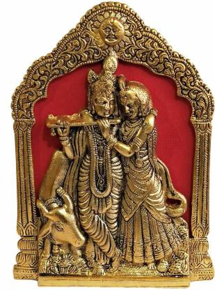 salvusappsolutions Oxidized Metal Golden Radha Krishna with Cow Statue Frame/ Wall Hanging & Table Decor for Pooja, Home-Office Decor & Gift Item (8.5 inch) Decorative Showpiece  -  21 cm