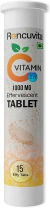 RONCUVITA Natural Vitamin C 1000mg and Zinc - 15 Effervescent Tablets (Orange Flavour)