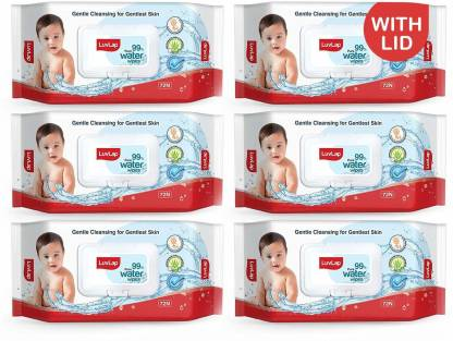 LuvLap Baby 99% Pure Water Wipes, 72 wipes/pack, Pack of 6 Combo