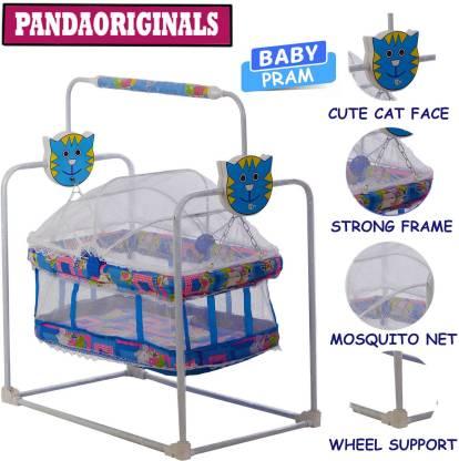 Pandaoriginals Best Premium Quality PRAM| Comfortable for Baby with Cute Cat face Pram