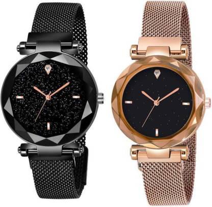 Shunya Black-Gold 21st century Magnetic Chain Belt Analog Watch - For Women