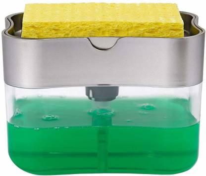 unlock 2 in 1 Soap Pump Plastic Dispenser for Dishwasher Liquid Holder - 385ml Free Sponge   2 in 1 Sponge Caddy and soap Dispenser   Box with soap Dispenser 2 in 1 Sponge Rack - 1 385 ml Soap Dispenser