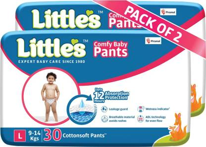 Little's Comfy Baby Pants Diapers with Wetness Indicator and 12 hours Absorption | Large - L