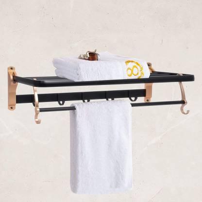 24 Inch Double Towel Rail Wall Mounted Aluminium Towel Stand Bath accessory