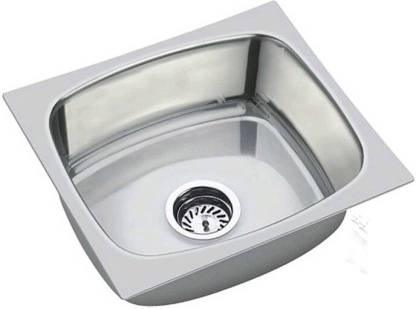 Prestige (17x20x8 inch) 'oval single bowl' Stainless steel Chrome Finish Kitchen Sink With Waste Coupling , Vessel Sink