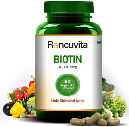 RONCUVITA Biotin 10000 mcg Maximum Strength, 60 Vegetarian Capsule for Hair, Skin and Nails